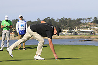 Steve Stricker (USA) sinks his birdie putt on the 7th green during Sunday's Final Round of the 2018 AT&amp;T Pebble Beach Pro-Am, held on Pebble Beach Golf Course, Monterey,  California, USA. 11th February 2018.<br /> Picture: Eoin Clarke | Golffile<br /> <br /> <br /> All photos usage must carry mandatory copyright credit (&copy; Golffile | Eoin Clarke)