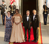 United States President Barack Obama and First Lady Michelle Obama welcome Sauli Niinisto, President of the Republic of Finland (2nd right) and spouse Jenni Haukio (left) as they arrive May 13, 2016 at The White House in Washington, DC to attend a State Dinner while participating in the U.S.- Nordic Leaders Summit. <br /> Credit: Chris Kleponis / CNP