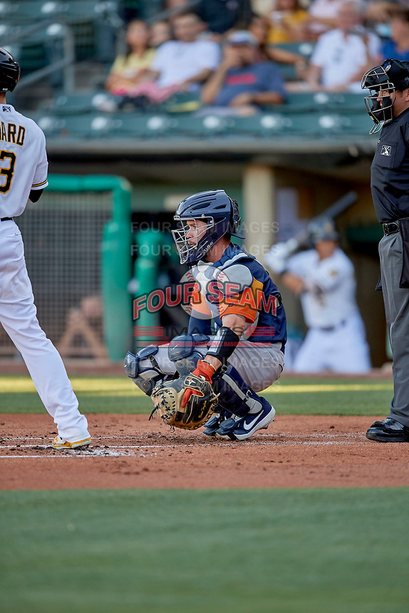 Beau Taylor (6) of the Las Vegas Aviators on defense against the Salt Lake Bees at Smith's Ballpark on July 20, 2019 in Salt Lake City, Utah. The Aviators defeated the Bees 8-5. (Stephen Smith/Four Seam Images)