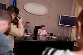 Kiev, Ukraine.July 18, 2005 ..Ukrainian Prime Minister Yulia Teminchenko holds a press conference..