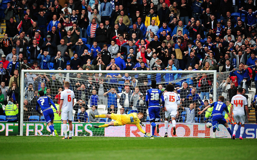 Cardiff City's Peter Whittingham scores his sides second goal from the penalty spot<br /> <br /> Photographer Kevin Barnes/CameraSport<br /> <br /> Football - The Football League Sky Bet Championship - Cardiff City v Bolton Wanderers - Saturday 23rd April 2016 - Cardiff City Stadium - Cardiff <br /> <br /> &copy; CameraSport - 43 Linden Ave. Countesthorpe. Leicester. England. LE8 5PG - Tel: +44 (0) 116 277 4147 - admin@camerasport.com - www.camerasport.com