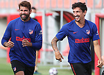 Atletico de Madrid's Diego Costa and Stefan Savic during training session. August 8,2020.(ALTERPHOTOS/Atletico de Madrid/Pool)