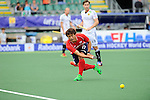 The Hague, Netherlands, June 10: Eunseong Hong #17 of Korea passes the ball during the field hockey group match (Men - Group B) between Germany and Korea on June 10, 2014 during the World Cup 2014 at Kyocera Stadium in The Hague, Netherlands. Final score 6-1 (3-0) (Photo by Dirk Markgraf / www.265-images.com) *** Local caption ***