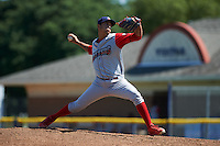 Williamsport Crosscutters pitcher Alejandro Arteaga (30) delivers a pitch during a game against the Batavia Muckdogs on July 16, 2015 at Dwyer Stadium in Batavia, New York.  Batavia defeated Williamsport 4-2.  (Mike Janes/Four Seam Images)