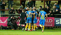 Shrewsbury Town's Nathan Thomas celebrates scoring his side's second goal with teammates<br /> <br /> Photographer Alex Dodd/CameraSport<br /> <br /> The EFL Sky Bet League One - Fleetwood Town v Shrewsbury Town - Tuesday 13th February 2018 - Highbury Stadium - Fleetwood<br /> <br /> World Copyright &copy; 2018 CameraSport. All rights reserved. 43 Linden Ave. Countesthorpe. Leicester. England. LE8 5PG - Tel: +44 (0) 116 277 4147 - admin@camerasport.com - www.camerasport.com