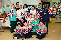 Staff and patients from Nightingale Ward celebrate on the Royal wedding day