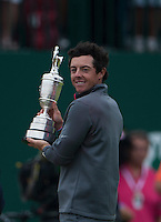 20.07.2014. Hoylake, England. The Open Golf Championship, Final Round.   Rory MCILROY [NIR] wins the 2014 Open and displays the trophy to the fans.