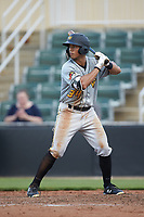 Calvin Mitchell (34) of the West Virginia Power at bat against the Kannapolis Intimidators at Kannapolis Intimidators Stadium on July 25, 2018 in Kannapolis, North Carolina. The Intimidators defeated the Power 6-2 in 8 innings in game one of a double-header. (Brian Westerholt/Four Seam Images)