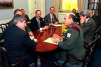 Jan. 18, 2002, Washington, DC, United States<br /> <br /> Israeli Chief of Defense Lt. Gen. Shaul Mofaz (right foreground) meets with Deputy Secretary of Defense Paul Wolfowitz (left), and other senior DoD officials in the Pentagon on Jan. 18, 2002.  Under discussion is a range of bilateral security issues.  <br /> <br /> Mandatory Credit: Photo by DoD photo by R. D. Ward. (Released)-