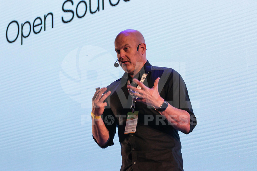 SAO PAULO, SP - 15.02.2019 - CAMPUS PARTY - O engenheiro da Nexus Cloud, Frank Karlitschek fala sobre o futuro dos dados durante a Campus Party nesta sexta-feira (15) no Expo Center Norte na zona norte de Sao Paulo.<br /> <br /> <br /> (Foto: Fabricio Bomjardim / Brazil Photo Press / Folhapress)