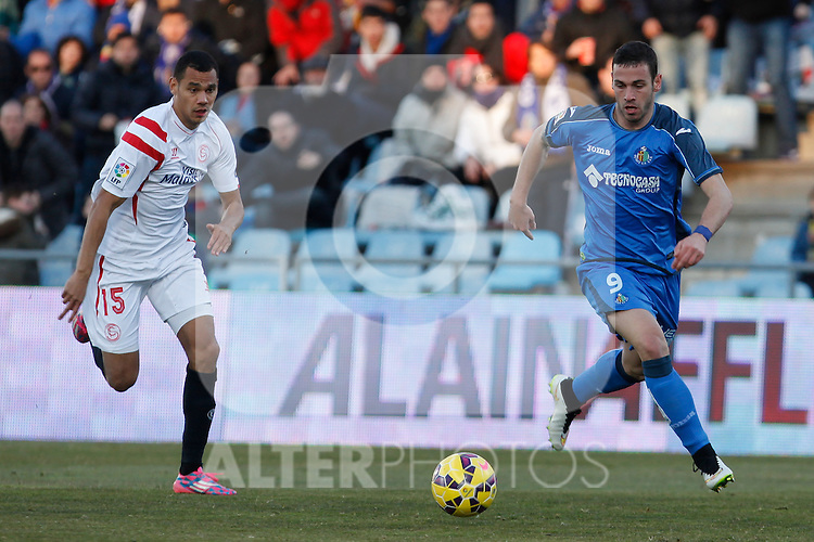 Getafe´s Alvaro (R) and Sevilla´s Kolo during 2014-15 La Liga match at Alfonso Perez Coliseum stadium in Getafe, Spain. February 08, 2015. (ALTERPHOTOS/Victor Blanco)