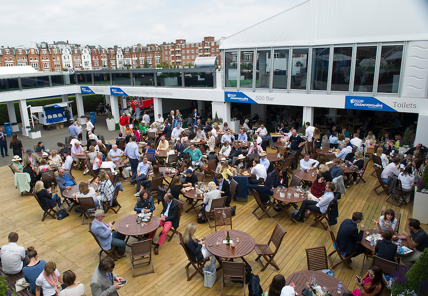 A general view of  the food hall area at Queen's Club - London during the AEGON Championships<br /> <br /> Photographer Ashley Western/CameraSport<br /> <br /> Tennis - ATP 500 World Tour - AEGON Championships- Day 5 - Friday 19th June 2015 - Queen's Club - London <br /> <br /> &copy; CameraSport - 43 Linden Ave. Countesthorpe. Leicester. England. LE8 5PG - Tel: +44 (0) 116 277 4147 - admin@camerasport.com - www.camerasport.com