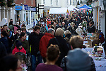Crowds of shoppers in the Thoroughfare during a Christmas market, Woodbridge, Suffolk, England