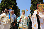 Israel, Mount Tabor, Transfiguration Day procession at St. Elias Greek Orthodox Monastery
