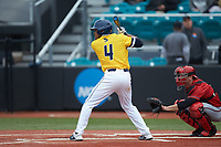 Jacquez Koonce (4) of the UNCG Spartans at bat against the San Diego State Aztecs at Springs Brooks Stadium on February 16, 2020 in Conway, South Carolina. The Spartans defeated the Aztecs 11-4.  (Brian Westerholt/Four Seam Images)