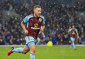9th December 2017, Turf Moor, Burnley, England; EPL Premier League football, Burnley versus Watford; Scott Arfield of Burnley runs to celebrate the opening goal of the game in the 45th minute