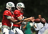 New York Jets quarterbacks Josh McCown #15, right, and Teddy Bridgewater #5 take snaps during team practice at the Atlantic Health Jets Training Center in Florham Park, NJ on Sunday, July 29, 2018.