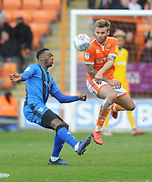Blackpool's Nick Anderton under pressure from Gillingham's Brandon Hanlan<br /> <br /> Photographer Kevin Barnes/CameraSport<br /> <br /> The EFL Sky Bet League One - Blackpool v Gillingham - Saturday 4th May 2019 - Bloomfield Road - Blackpool<br /> <br /> World Copyright © 2019 CameraSport. All rights reserved. 43 Linden Ave. Countesthorpe. Leicester. England. LE8 5PG - Tel: +44 (0) 116 277 4147 - admin@camerasport.com - www.camerasport.com