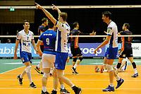 GRONINGEN - Volleybal , Lycurgus - Orion, finale playoff 3, seizoen 2018-2019, 01-05-2019 Lycurgus speler Auke van der Kamp zweepte het publiek op
