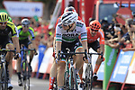 Photofinish sprint for the finish line between Irish Champion Sam Bennett (IRL) Bora-Hansgrohe and Dutch Champion Fabio Jakobsen (NED) Deceuninck-Quick Step at the end of Stage 4 of La Vuelta 2019 running 175.5km from Cullera to El Puig, Spain. 27th August 2019.<br /> Picture: Eoin Clarke | Cyclefile<br /> <br /> All photos usage must carry mandatory copyright credit (© Cyclefile | Eoin Clarke)