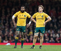 Australia's Michael Hooper with with team-mate Marika Koroibete<br /> <br /> Photographer Simon King/CameraSport<br /> <br /> International Rugby Union - 2017 Under Armour Series Autumn Internationals - Wales v Australia - Saturday 11th November 2017 - Principality Stadium - Cardiff<br /> <br /> World Copyright &copy; 2017 CameraSport. All rights reserved. 43 Linden Ave. Countesthorpe. Leicester. England. LE8 5PG - Tel: +44 (0) 116 277 4147 - admin@camerasport.com - www.camerasport.com