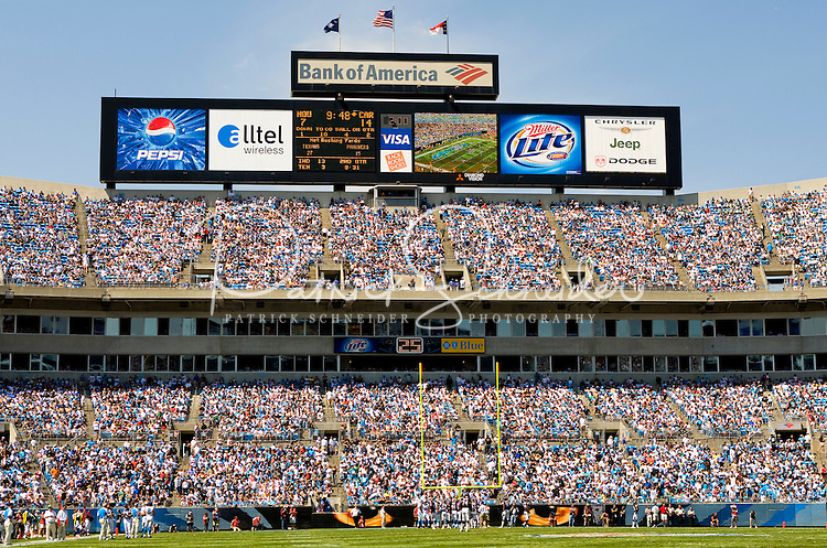 09/16/07 :  Fans fills the stands of Bank of America stadium during the team's 2007 season opener against the Houston Texans.  ..The Carolina Panthers, professional American NFL football team that represents both North Carolina and South Carolina, is based in Charlotte, North Carolina. The Panthers began playing in 1995 as part of the National Football League?s expansion program. They are members of the National Football Conference (NFC) South Division. They play in the Bank of America Stadium, located in downtown Charlotte.