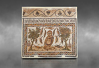 Picture of a Roman mosaics design depicting an owl, symbol of victory over envy. On either side of the Owl are symbols of Telegenii an North African Roman association. From the ancient Roman city of Thysdrus. 3rd century AD. El Djem Archaeological Museum, El Djem, Tunisia. Against a grey background