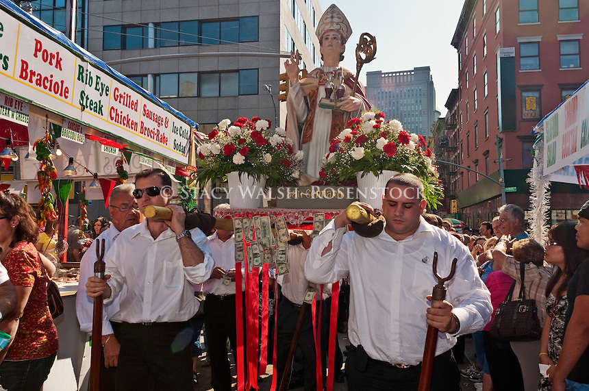 New York, NY -  18 September 2010 Parishioners carry the statue up Mulberry Street in the Procession for San Gennero