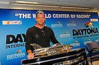 Harry Connick Jr. and the Harley J. Earl Daytona 500 Trophy.