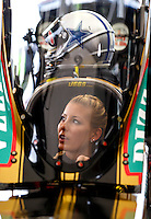 Oct 15, 2016; Ennis, TX, USA; NHRA top fuel driver Leah Pritchett in the cockpit of her Papa John's dragster with her new Dallas Cowboys themed racing helmet during qualifying for the Fall Nationals at Texas Motorplex. Mandatory Credit: Mark J. Rebilas-USA TODAY Sports