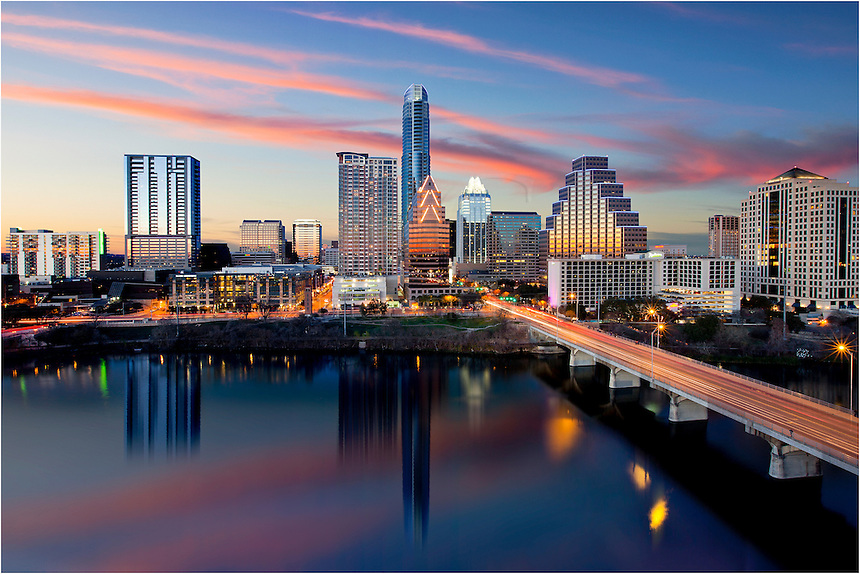 This photography of the Austin Skyline was taken from the top of the Hyatt on Ladybird Lake. Downtown Austin has great architecture, especially when reflected in the waters of Town Lake (aka Ladybird Lake) around Zilker Park.