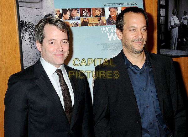 "MATTEW BRODERICK & JOSHUA GOLDIN.Attending ""Wonderful World"" Los Angeles Premiere held at the Director's Guild Theatre, West Hollywood, California, USA, 7th January 2010..half black suit brown tie blue beard facial hair .CAP/ADM/BP.©Byron Purvis/AdMedia/Capital Pictures."