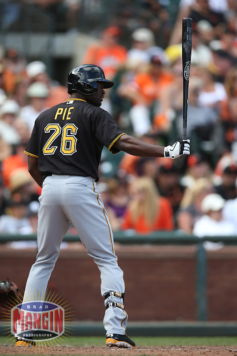 SAN FRANCISCO, CA - AUGUST 25:  Felix Pie #26 of the Pittsburgh Pirates bats during the game against the San Francisco Giants at AT&T Park on Sunday, August 25, 2013 in San Francisco, California. Photo by Brad Mangin