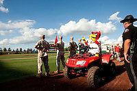 Louie rides a four wheeler to pump up fans prior to a game between the Corpus Christi Hooks and the Springfield Cardinals at Hammons Field on August 13, 2011 in Springfield, Missouri. Springfield defeated Corpus Christi 8-7. (David Welker / Four Seam Images)