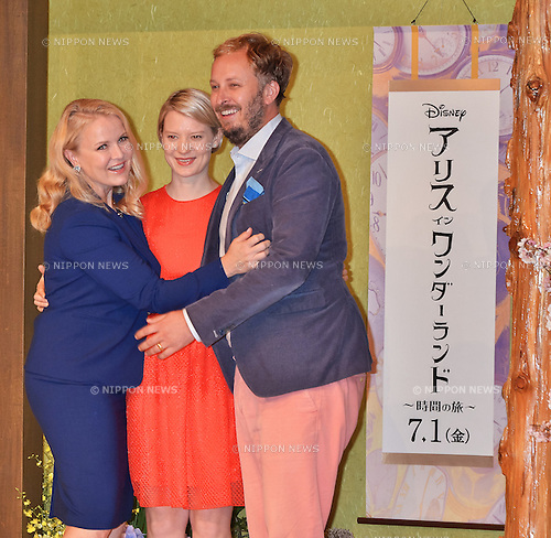 Suzanne Todd, Mia Wasikowska, and James Bobin, June 20, 2016, Tokyo, Japan : (L-R) Producer Suzanne Todd, actress Mia Wasikowska and director James Bobin attend the press conference for the film Alice Through the Looking Glass at the Ritz-Carlton in Tokyo, Japan on June 20, 2016.