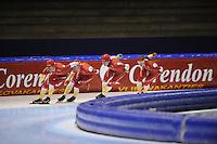 SCHAATSEN: HEERENVEEN: IJsstadion Thialf, 31-10-2012, Perspresentatie Team Corendon, Training, Rienk Nauta, Bas Bervoets, Pepijn van der Vinne, Natasja Bruintjes, ©foto Martin de Jong