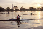 Rowing, Washington DC: Washington Monument, Potomac Boat Club rowers in single racing shells, Potomac River, District of Columbia, USA, North America, .