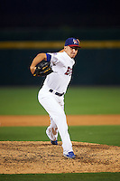 Buffalo Bisons relief pitcher Pat Venditte (44) during a game against the Norfolk Tides on July 18, 2016 at Coca-Cola Field in Buffalo, New York.  Norfolk defeated Buffalo 11-8.  (Mike Janes/Four Seam Images)