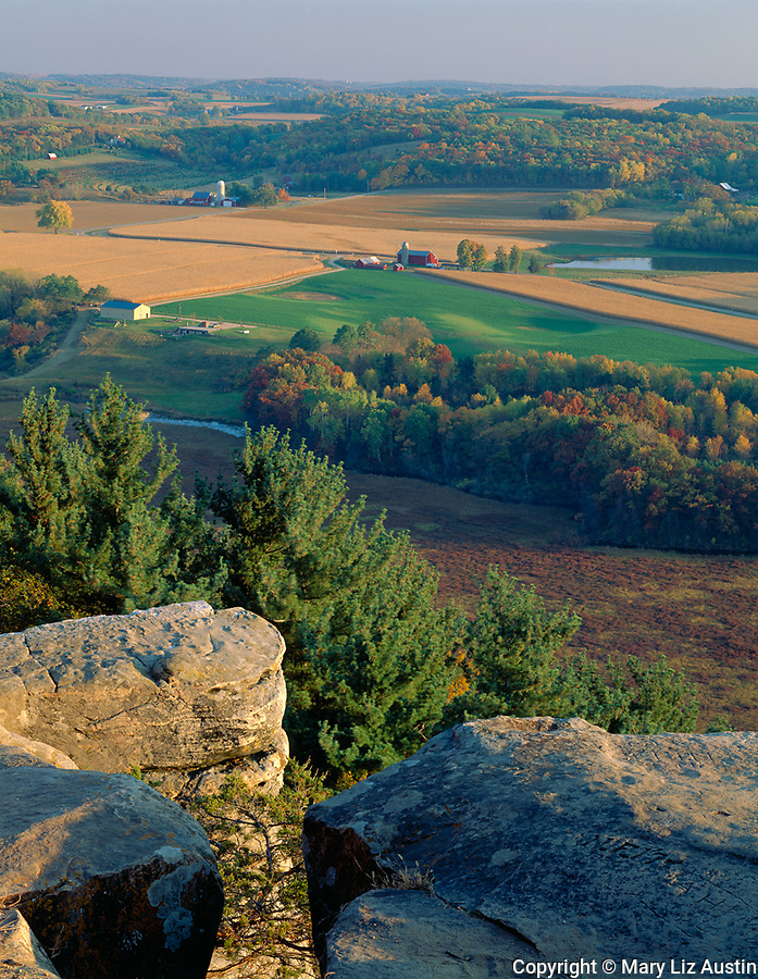 Sauk County, WI<br /> Wisconsin River Valley at fall harvest time from the cliff edge of Gibraltar Rock State Natural Area