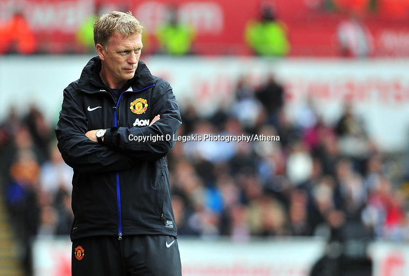 Manchester united manager David Moyes.<br /> Saturday 17 August 2013<br /> Pictured: <br /> Re: Barclays Premier League Swansea City v Manchester United at the Liberty Stadium, Swansea, Wales