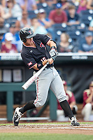 Texas Tech Red Raiders shortstop Josh Jung (16) swings the bat during Game 9 of the NCAA College World Series against the Florida State Seminoles on June 19, 2019 at TD Ameritrade Park in Omaha, Nebraska. Texas Tech defeated Florida State State 4-1. (Andrew Woolley/Four Seam Images)