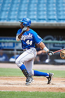 Ivan Wilson Jr. #44 of Ruston High School in Simsboro, Louisiana playing for the Kansas City Royals scout team during the East Coast Pro Showcase at Alliance Bank Stadium on August 2, 2012 in Syracuse, New York.  (Mike Janes/Four Seam Images)