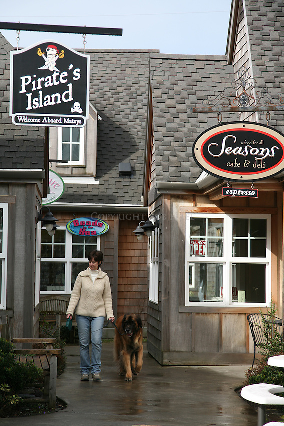 Scenes of Leonberger dog shopping in dog-friendly Cannon Beach, Oregon