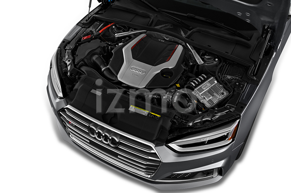 Car stock 2018 Audi S5 Sportback 3.0T Premium Plus quattro Tiptronic 5 Door Hatchback engine high angle detail view