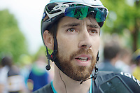 Thomas De Gendt (BEL/OPQS) being interviewd after the finisch<br /> <br /> 2014 Giro d'Italia <br /> stage 17: Sarnonico - Vittori Veneto (208km)