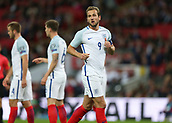 5th October 2017, Wembley Stadium, London, England; FIFA World Cup Qualification, England versus Slovenia; Harry Kane, the England captain looks on