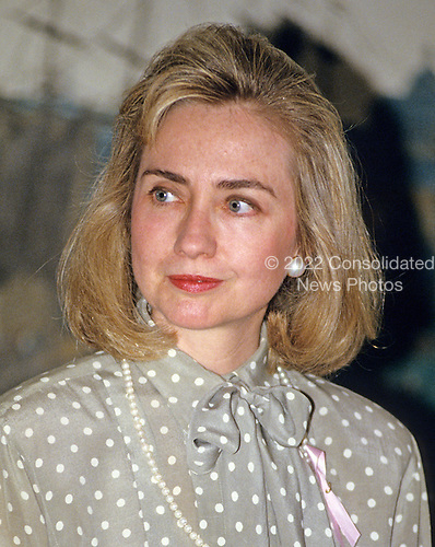 """First lady Hillary Rodham Clinton makes remarks at the launch of the """"Pink Ribbon"""" Breast Cancer Awareness Campaign in the Diplomatic Room of the White House in Washington, D.C. on Thursday, May 13, 1993.  <br /> Credit: Ron Sachs / CNP"""