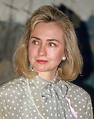 "First lady Hillary Rodham Clinton makes remarks at the launch of the ""Pink Ribbon"" Breast Cancer Awareness Campaign in the Diplomatic Room of the White House in Washington, D.C. on Thursday, May 13, 1993.  <br /> Credit: Ron Sachs / CNP"