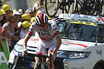 "Dan Martin (IRL) UAE Team Emirates climbs towards the finish line atop the Col du Tourmalet 5'35"" down at the end of Stage 14 of the 2019 Tour de France running 117.5km from Tarbes to Tourmalet Bareges, France. 20th July 2019.<br /> Picture: Colin Flockton 