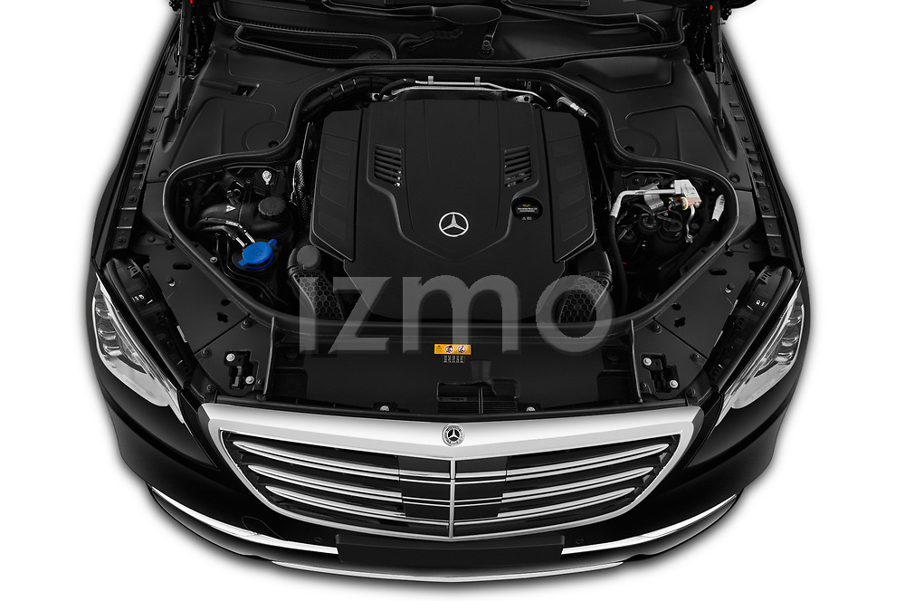 Car Stock 2019 Mercedes Benz S-Class - 4 Door Sedan Engine  high angle detail view